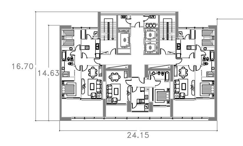This typical floor plan for one of the towers, shows 3 elevators, in addition to stairs.