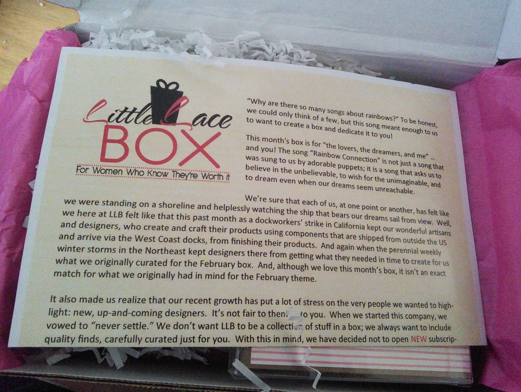 Each box includes a letter describing the theme and the items.