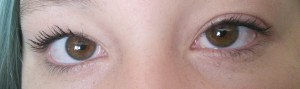 The eye lash extension kit in action.